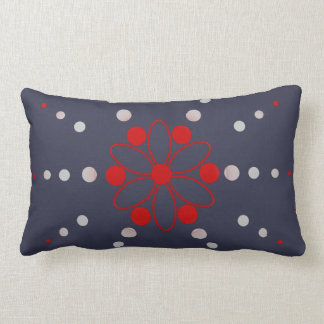 Red and grey flowery beads throw pillow