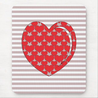 RED AND GREY HEART MOUSE PAD