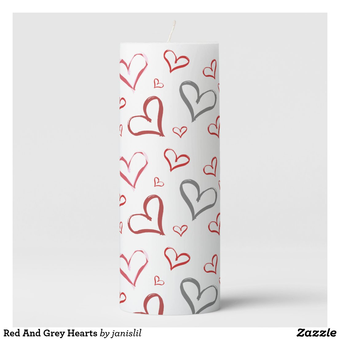 Red And Grey Hearts Pillar Candle