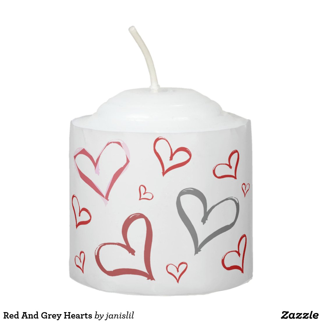 Red And Grey Hearts Votive Candle