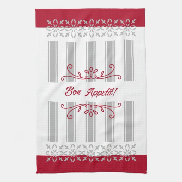 Red and grey modern french inspired tea towel