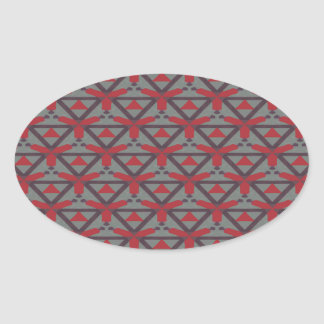 Red and Grey Pattern Oval Sticker