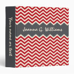 Red and grey personalized chevron pattern binder