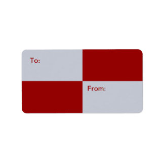 Red and Grey Rectangles gift tag