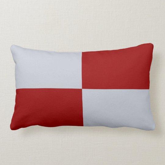 Red and Grey Rectangles Lumbar Pillow
