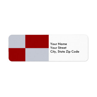 Red and Grey Rectangles return address label