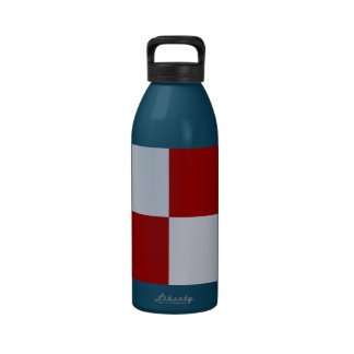 Red and Grey Rectangles Reusable Water Bottle