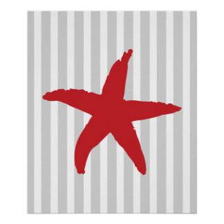 Red and Grey Striped Nautical Sea Star Poster
