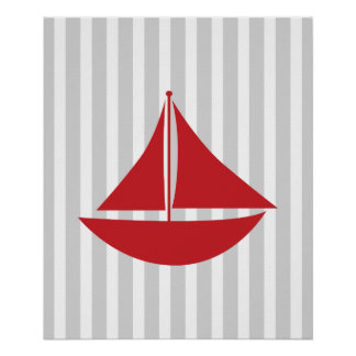 Red and Grey Striped Nautical Ship Poster