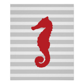 Red and Grey Stripes Nautical Seahorse Poster