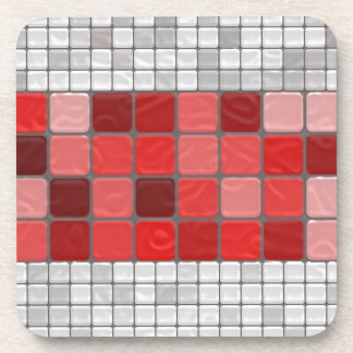 Red and Grey Tiles Beverage Coaster