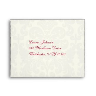 Red and Ivory Damask A2 Envelope for Reply Card envelope