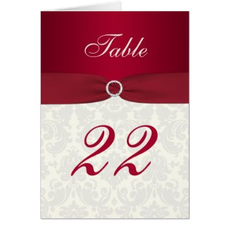 Red and Ivory Damask Table Number Card card