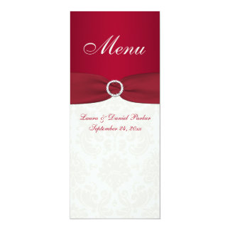 Red and Ivory Damask Wedding Menu Card