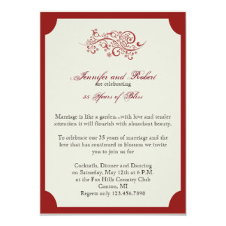 Red and Ivory Filigree Scroll Anniversary 5x7 Paper Invitation Card
