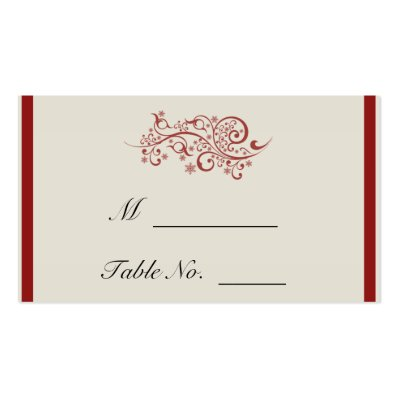 Red and Ivory Filigree Vintage Wedding Place Cards Business Card Template