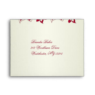 Red and Ivory Floral A2 Envelope for Reply Card