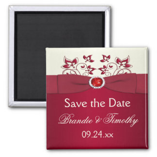 Red and Ivory Floral Save the Date Magnet