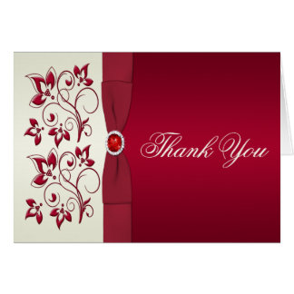 Red and Ivory Floral Thank You Card Card