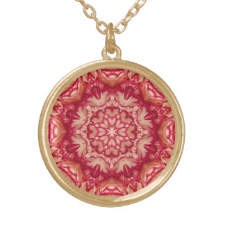 Red and Ivory Peppermint Victorian Floral Gold Plated Necklace