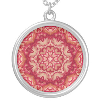 Red and Ivory Peppermint Victorian Floral Silver Plated Necklace