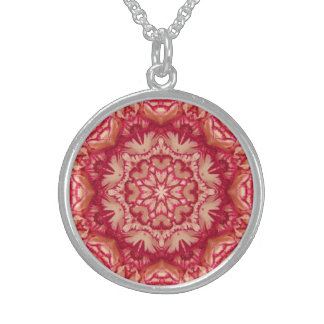 Red and Ivory Peppermint Victorian Floral Sterling Silver Necklace