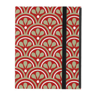 Red And Khaki Floral Art Deco Pattern iPad Cases