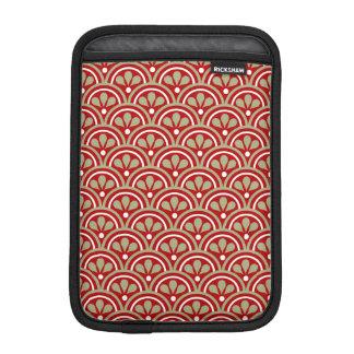 Red And Khaki Floral Art Deco Pattern iPad Mini Sleeve