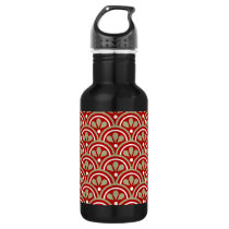 Red And Khaki Floral Art Deco Pattern Stainless Steel Water Bottle