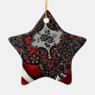 Red and lace ceramic ornament