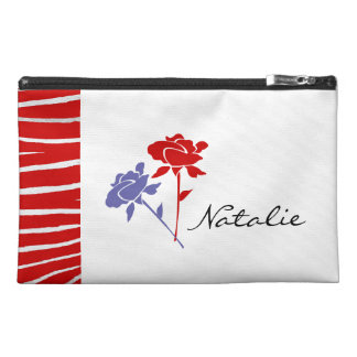 Red and Lavender Roses+Red Zebra+Name Travel Accessory Bag