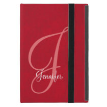 Red and Leather Monogram iPad Mini Case
