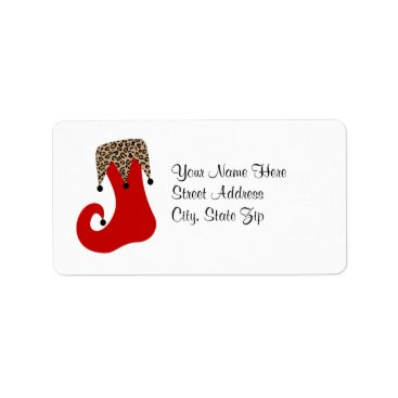 Christmas Themed Red and Leopard Christmas Stocking Address Label