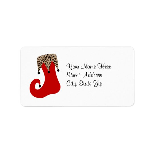 Red and Leopard Christmas Stocking Address Label
