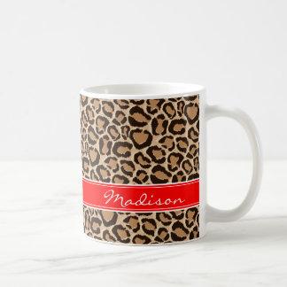 Red and Leopard Print Custom Monogram Coffee Mug