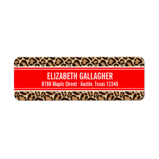 Red and Leopard Print Label