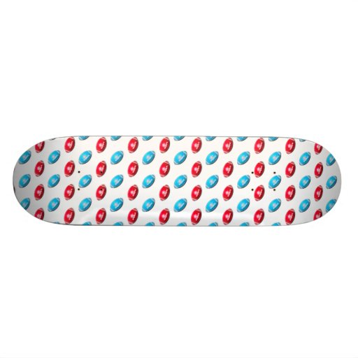 Red and Light Blue Football Pattern Skateboard