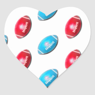 Red and Light Blue Football Pattern Heart Sticker