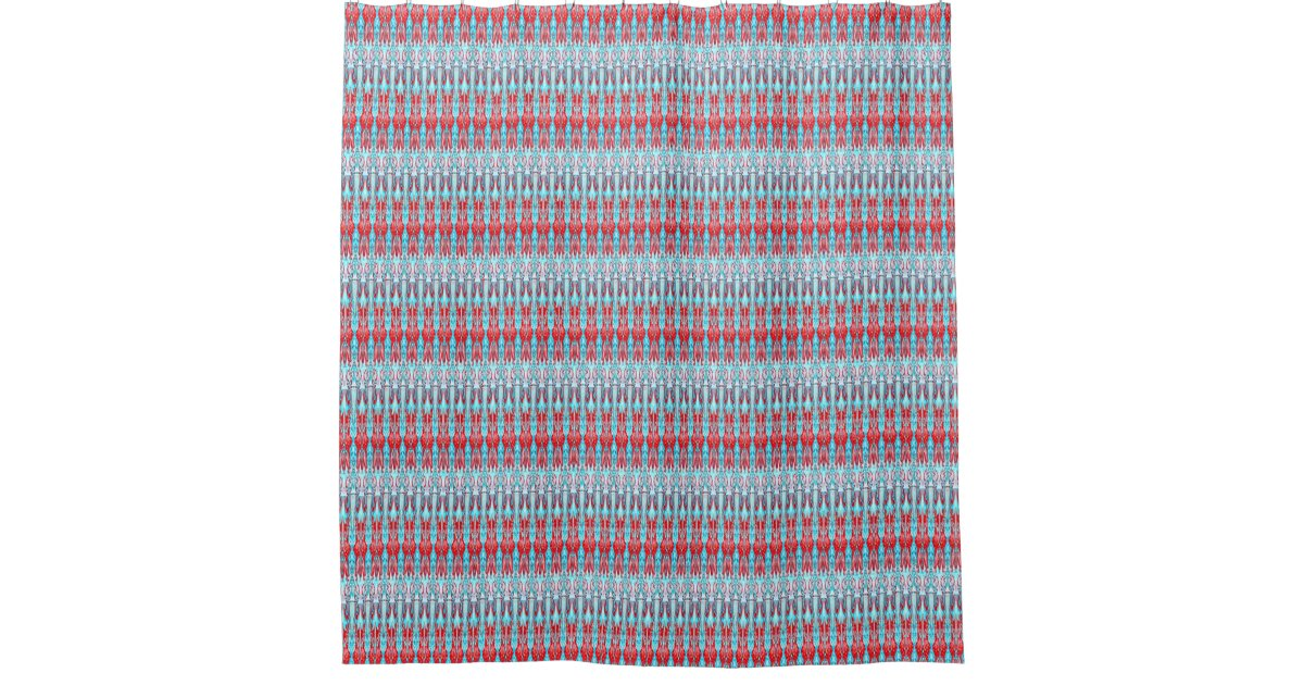 Red and light blue pattern shower curtain zazzle for Light blue patterned curtains