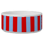 Red and Light Blue Stripes Dog Bowl