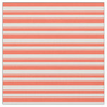 [ Thumbnail: Red and Light Cyan Colored Lines Pattern Fabric ]