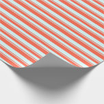 [ Thumbnail: Red and Light Cyan Colored Lines Pattern Wrapping Paper ]