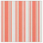 [ Thumbnail: Red and Light Cyan Colored Striped/Lined Pattern Fabric ]