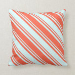 [ Thumbnail: Red and Light Cyan Striped/Lined Pattern Pillow ]