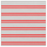 [ Thumbnail: Red and Light Gray Colored Lined/Striped Pattern Fabric ]