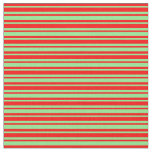 [ Thumbnail: Red and Light Green Colored Lined Pattern Fabric ]