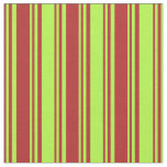 [ Thumbnail: Red and Light Green Colored Lines Fabric ]