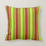 [ Thumbnail: Red and Light Green Colored Lines Throw Pillow ]