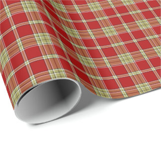 Red and Light Green Rustic Plaid Pattern Wrapping Paper