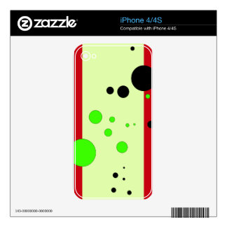 Red and light green with bubbles iPhone 4S skin